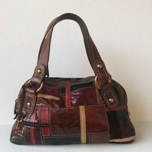 Fossil Patent Leather Patchwork Bowling Satchel